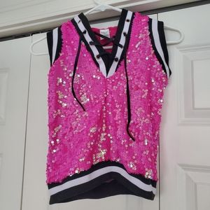 Pink Sequined lace-up hooded tank top (Weissman)